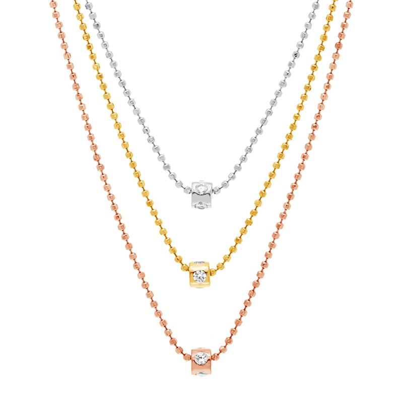 Conjunto triple cadena, donitas con piedras blancas, tricolor
