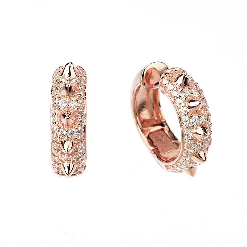 Par aros linea premium , argollas, pavee, con puntas, rosados, ajustables