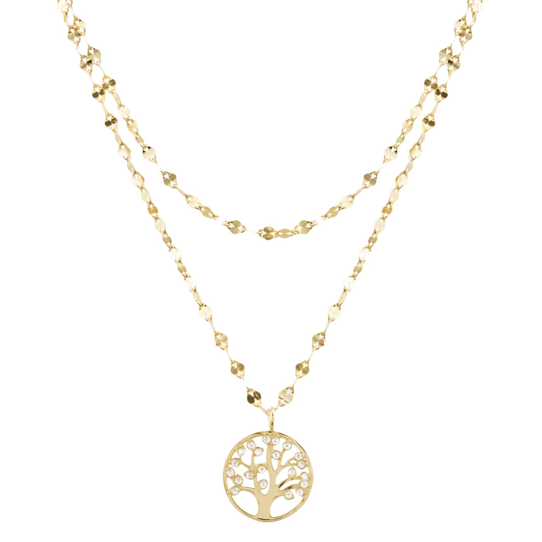 Doble cadena amarilla con arbol de la vida, piedras blancas