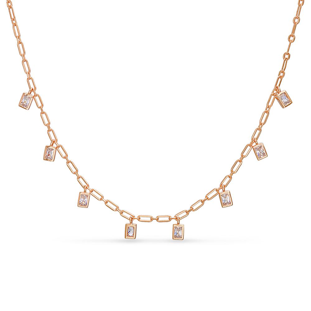 Cadena con piedras baguettes colgantes, rosada