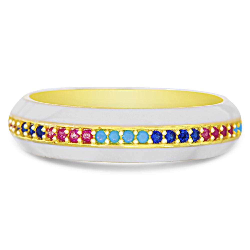 Anillo sin fin, amarillo, con esmalte blanco y piedras multicolor