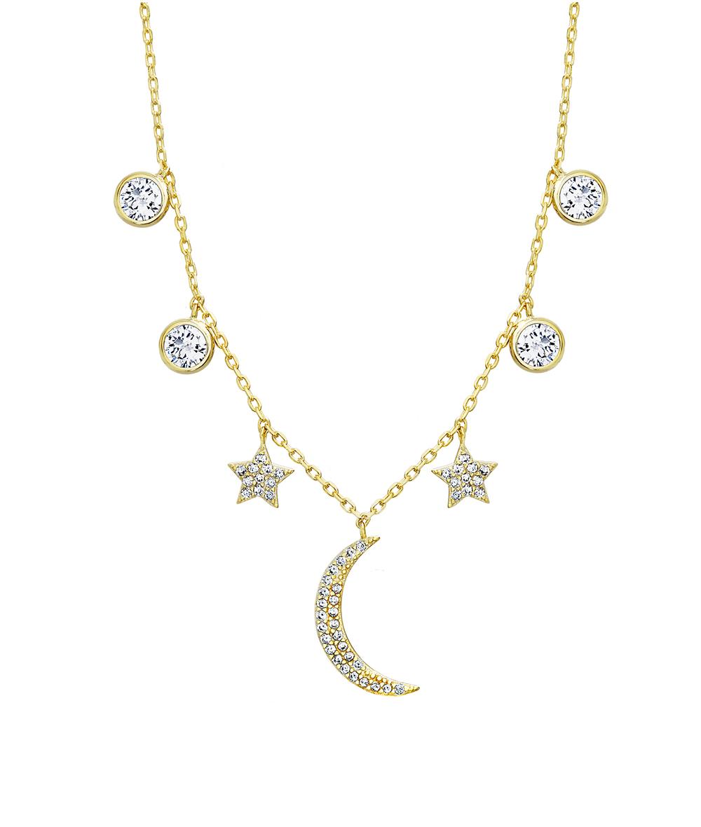 Conjunto luna y estrellas pavee, piedras con virola, amarillo