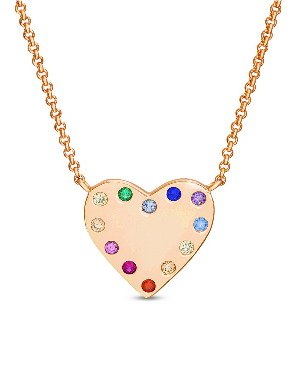 Conjunto corazon rose con piedras multicolor