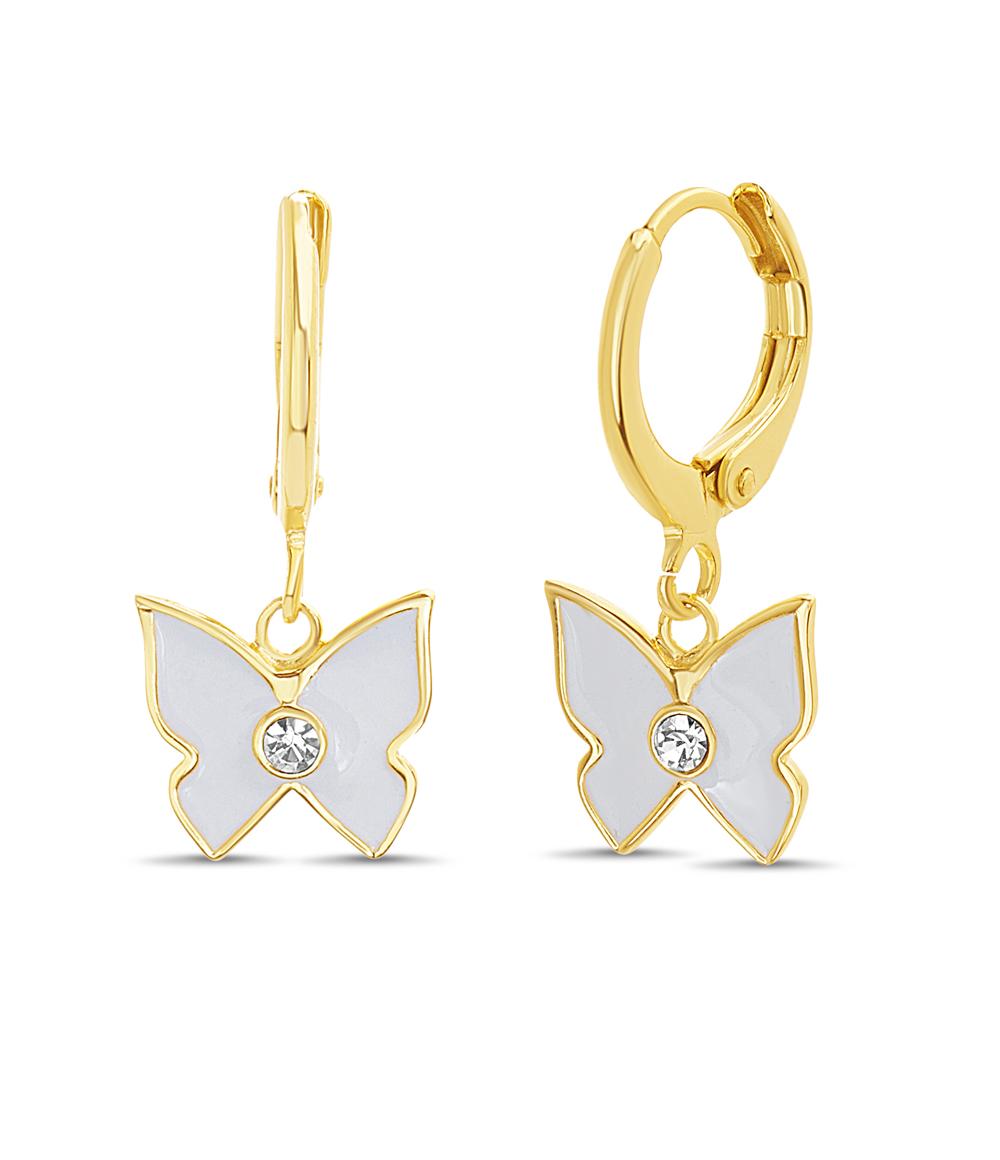 Par aros colgantes, mariposa, color amarillo, con esmalte blanco