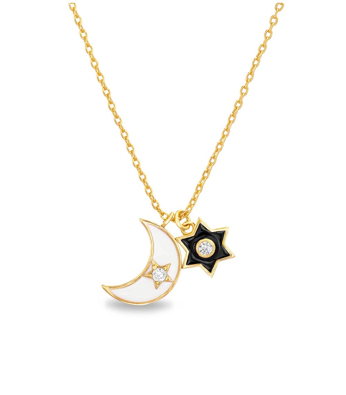 Conjunto lunita y estrella, esmalte blanco y negro, amarillo