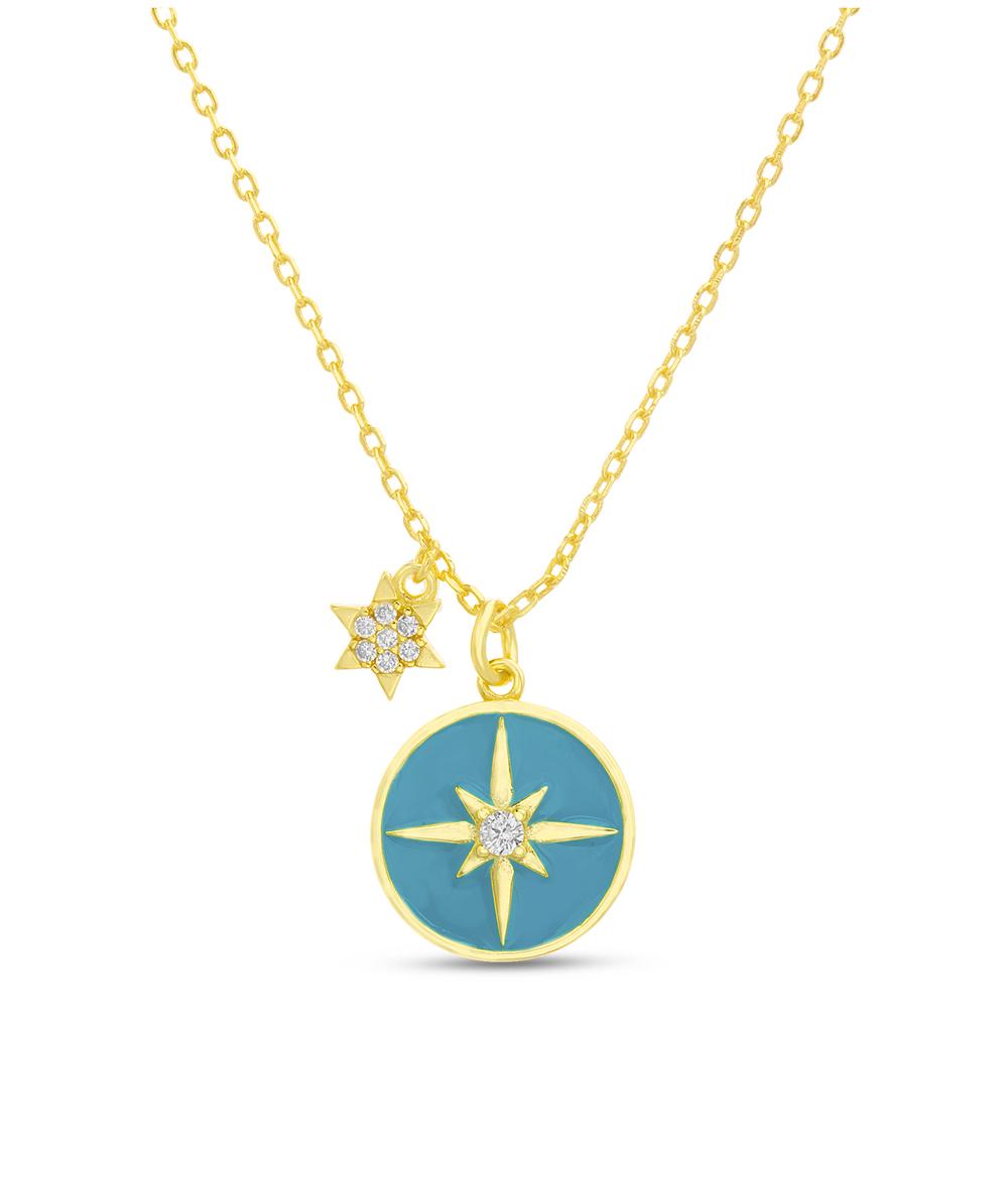 Conjunto medallita esmalte turquesa, estrellas, piedras, amarillo