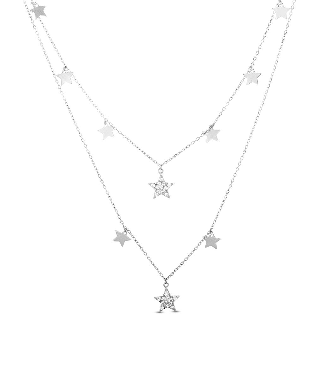 Conjunto doble con estrellas con y sin piedra, blanco