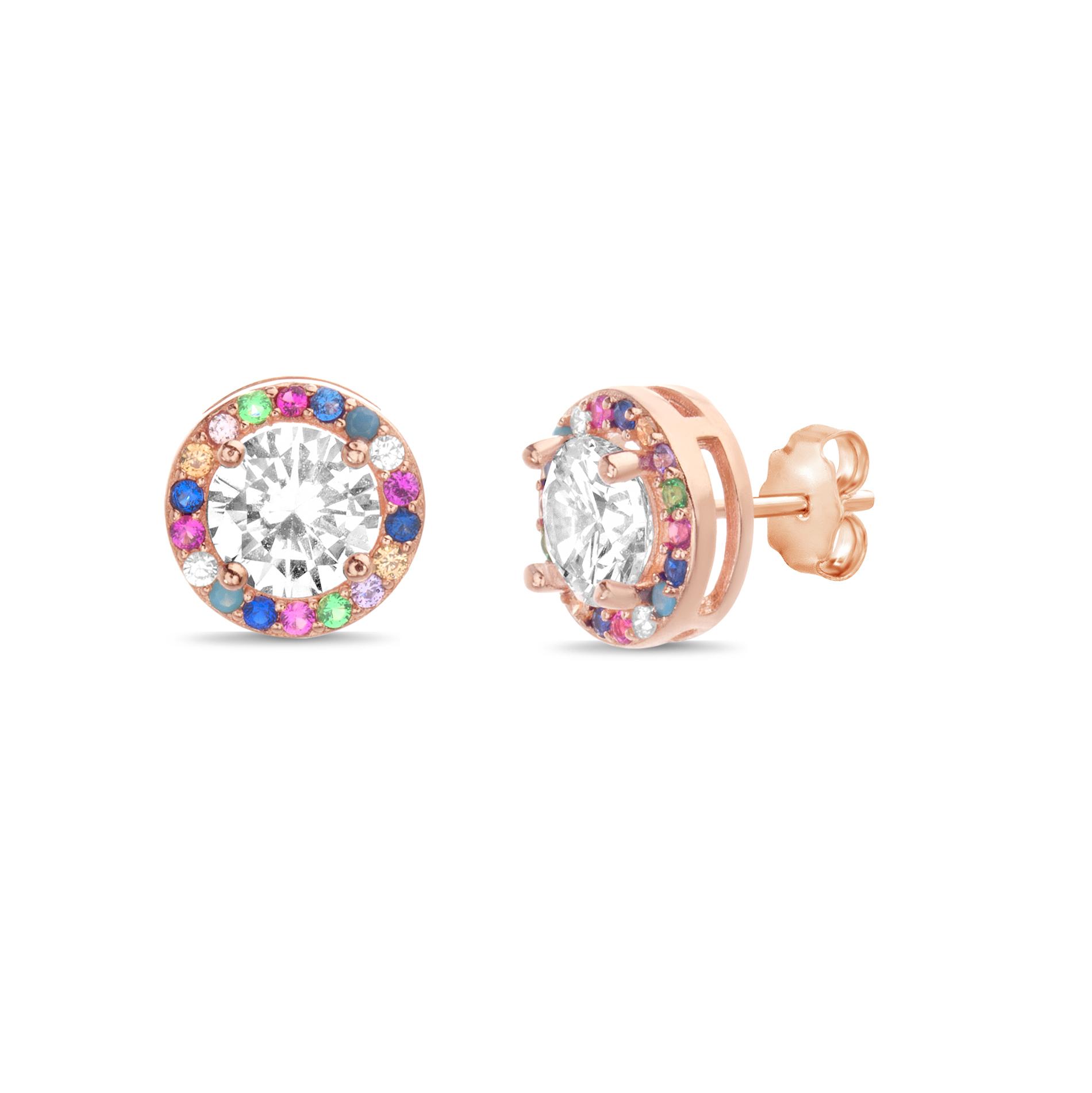 Par aros rosados piedra central blanca y multicolor alrededor