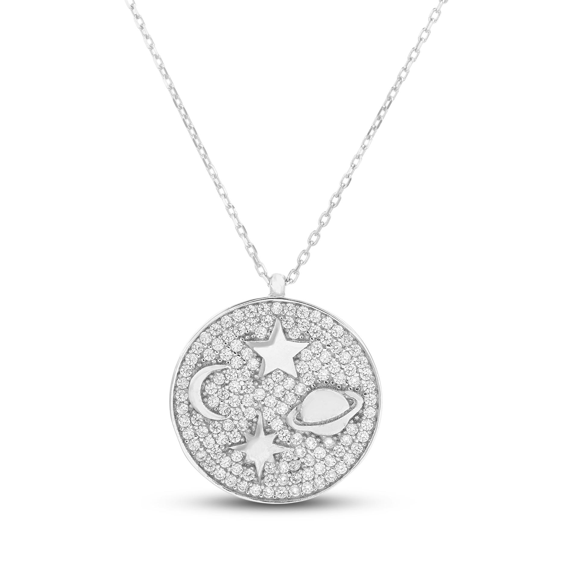 Conjunto medalla pavee con estrellas, luna y saturno