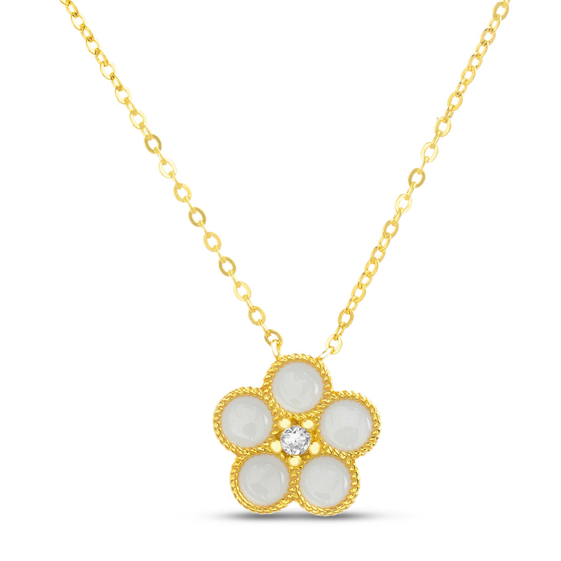 Conjunto amarillo flor esmaltada blanca y piedra en el centro