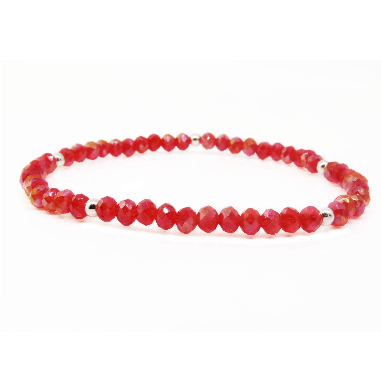 Pulsera roja cristal y bolitas, elastizada