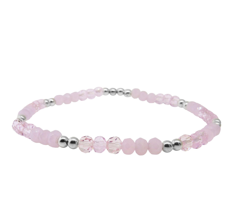 Pulsera rosa cristal dos tonos y bolitas, elastizada