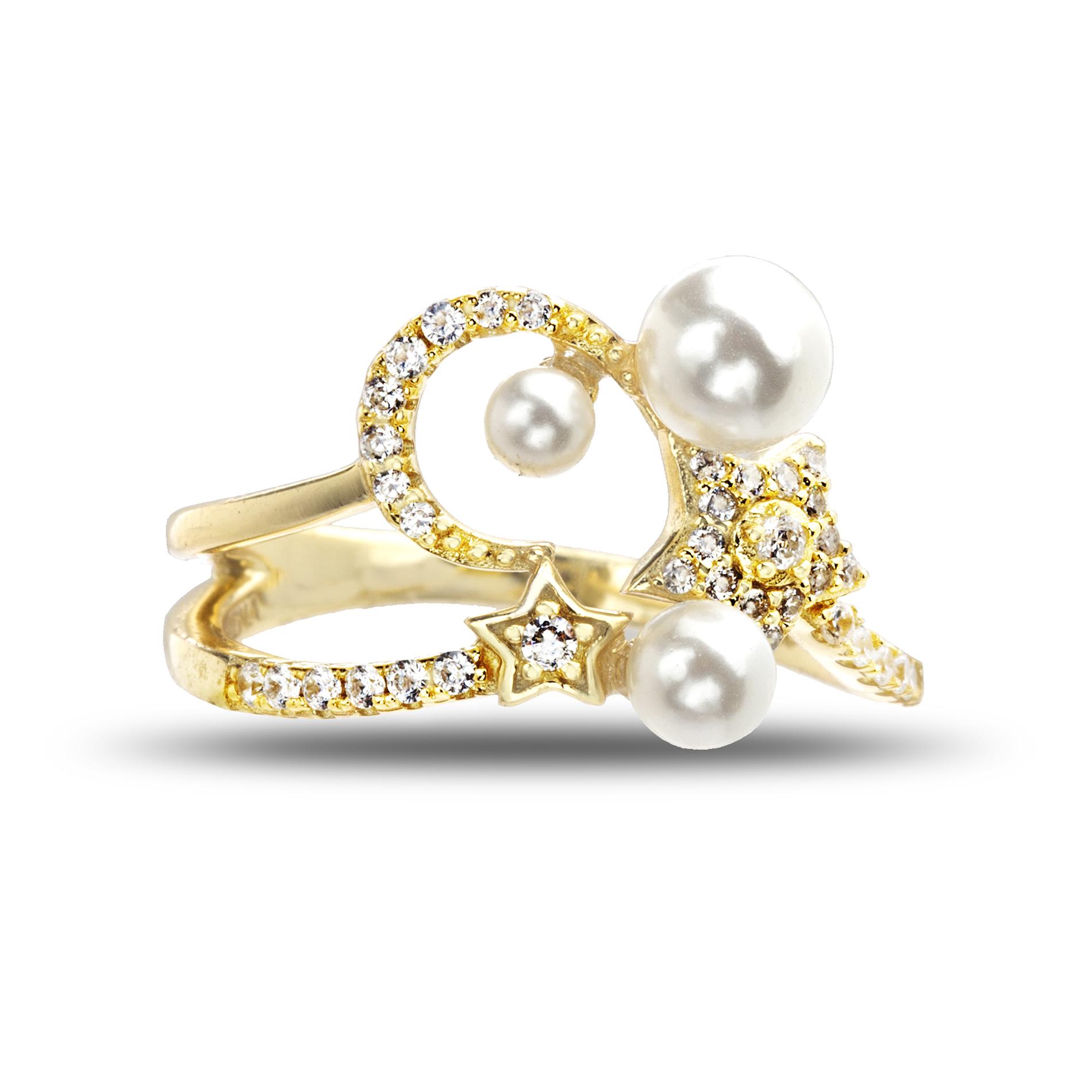 Anillo amarillo, perlas, luna, estrella, piedras blancas