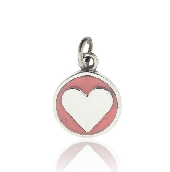 Dije medalla corazon rosada