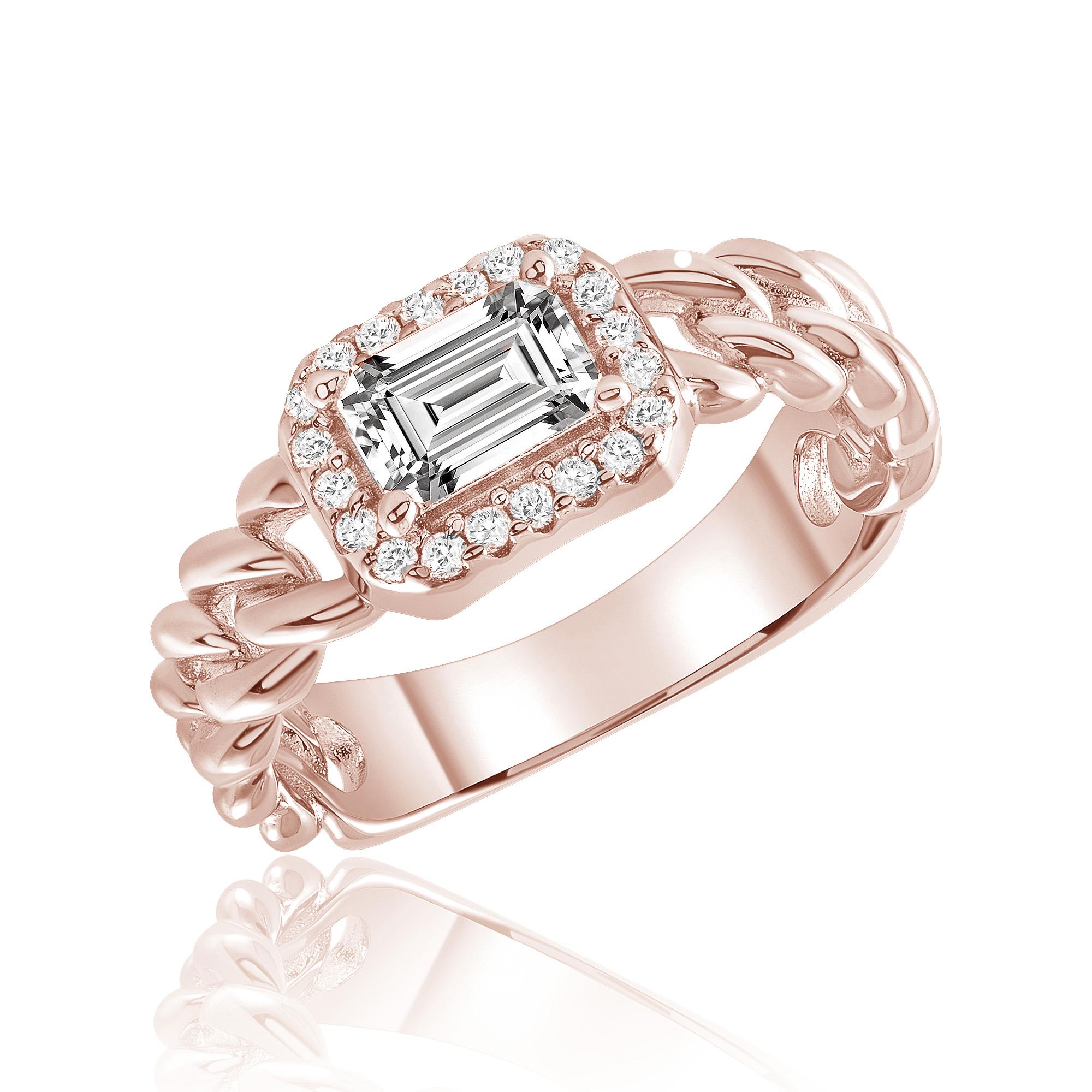 Anillo solitario linea premium, piedra baguette, eslabones, rosado