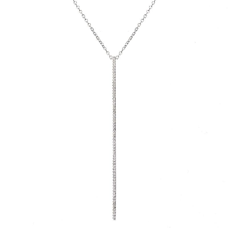 Colgante linea premium, largo, piedras blancas ( solo dije )