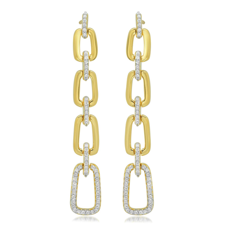 Par aros linea premium, colgantes, eslabones, piedras blancas, amarillos