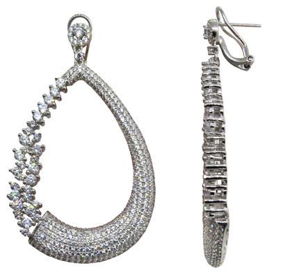 Par aros linea premium, colgantes, forma de gota, con piedras blancas, grifas, cierre pasante clip
