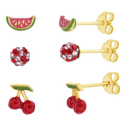 Trio de aros amarillo, sandia, bolita de fuego piedras rosas y rojas, cerezas, esmaltados,