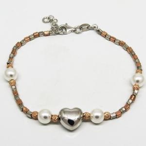 pulsera canutillos perlas, blanca y rosada, corazon en el centro