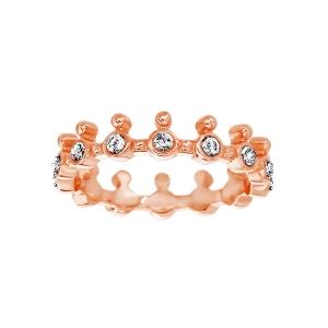 anillo corona con cubic rosada