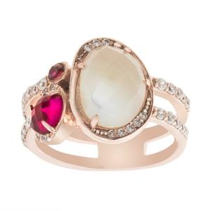 anillo rosado oval con cubic