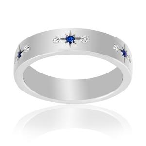 anillo alianza cinta estrella azul