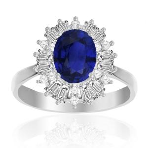 anillo solitario oval azul borde baguete
