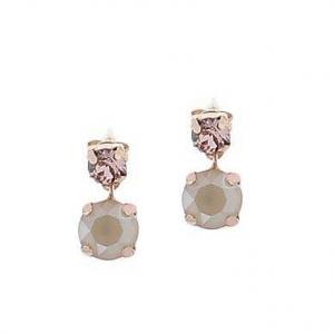 Par aros rosados piedra rosa clarito y rosa oscuro colgantes