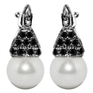 Par aros lady capricho perla cubic negro y rodio negro 10 mm