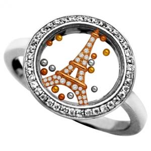 anillo jubel, cristal, torre rosada piedras, bolitas tricolor, movimiento