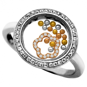 anillo jubel, cristal, flor rosada piedras , bolitas tricolor, movimiento