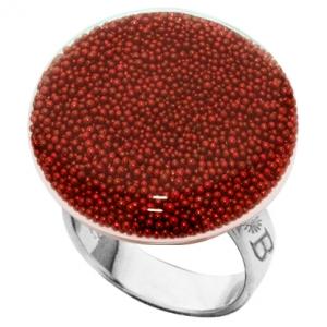 anillo bubble plano rojo