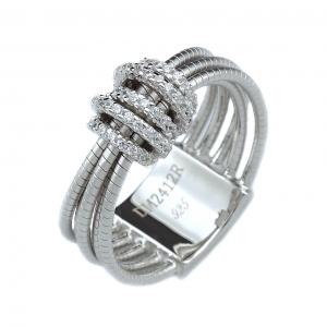 Anillo linea Premium, 5 tiras de hilos retorcidos, con aplique central de piedras blancas.