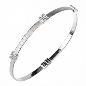Esclava linea Premium, hilo retorcido, color blanca, con trabas cuadradas de piedras blancas, abierta