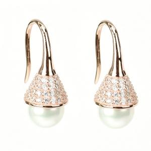 Par aros linea Premium, perla, pasante, colgante, con piedras por arriba, rosados