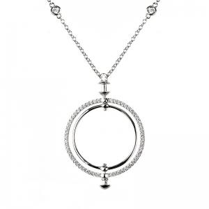 Conjunto Linea Premium, doble circulo, piedras blancas, con movimiento, piedras en la cadena, color blanco