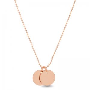 Conjunto doble medallita, cadena de bolitas, rosado