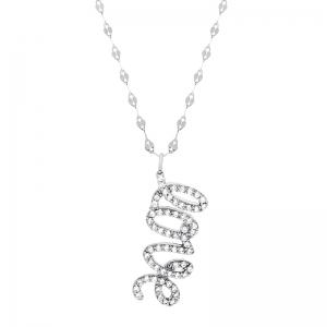 Conjunto Love cursiva colgante piedras blancas