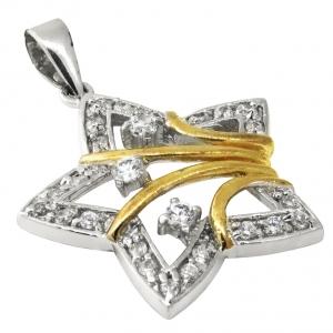 colgante estrella, calada, con detalles amarillos , piedras blancas