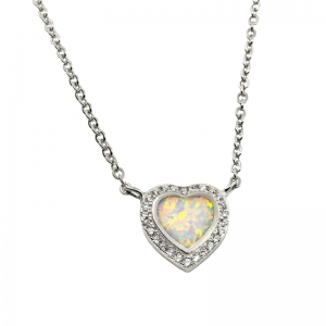 Conjunto corazon de piedra opalo, piedras blancas alrededor