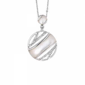 Conjunto doble circulo madre perla y tiras de piedras blancas