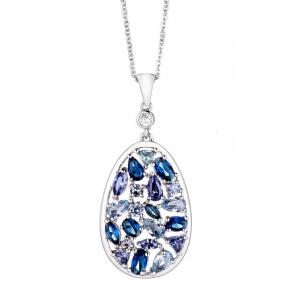 Conjunto ovalado de piedras color azul, violeta, y celeste