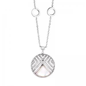Conjunto circulo madre perla, piedras blancas, cuatro circulos en cadena