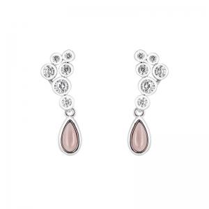 Par aros piedra rosada ovalada y piedras blancas con virola