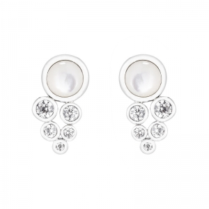 Par aros madre perla y piedras blancas con virola pegados, blancos