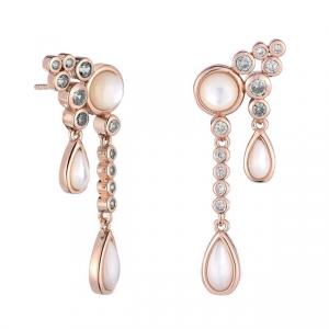 Par aros, madre perla y piedras blancas con virola, rosado