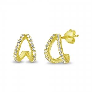 Par aros doble, pegado, con piedras, amarillo