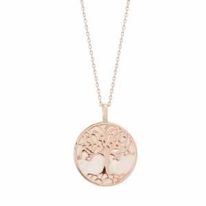 Conjunto medalla arbol de la vida, rosado