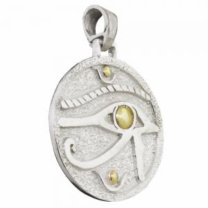 Medalla redonda ojo de Horus con double. 3,1 cm